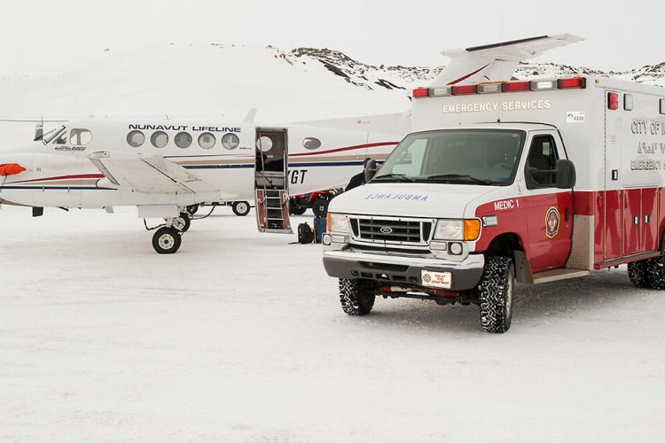 'Nunavut Lifeline' airplane, with ambulance at the Iqaluit airport.